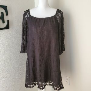 Jack by BB Dakota Dress with Sheer Lace Sleeves